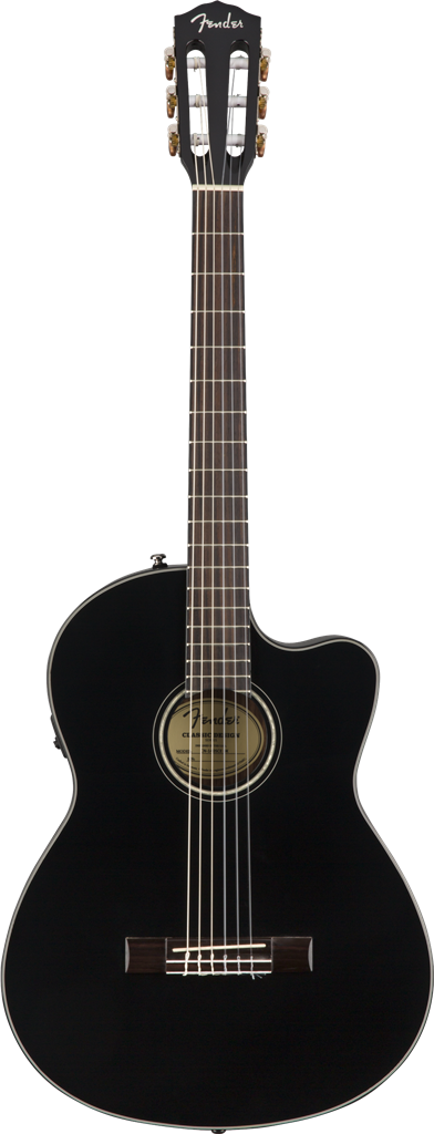 Fender CN-140SCE Nylon Thinline, Black, Guitarra Electroacústica