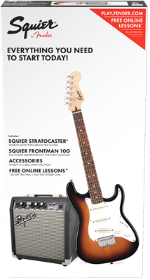 Squier Strat SS Pack, Brown Sunburst, Paquete de guitarra