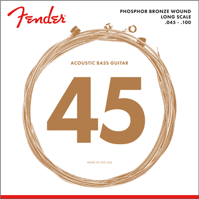 Fender acústico 8060, Phosphor Bronze, Long Scale, .45-.100 Gauges, (4) Cuerdas para Bajo
