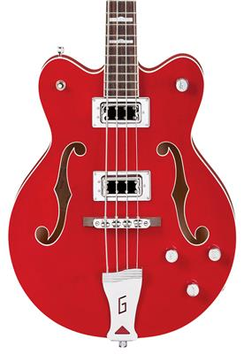 "Gretsch G5442BDC Electromatic Hollow Body 30.3"" Short Scale Bass, Transparent Red, Bajo Eléctrico"